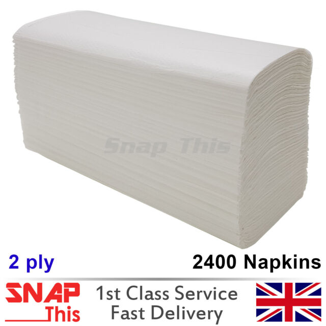 WHITE PAPER HAND TOWELS 2400 SHEETS Z FOLD MULTI FOLD PAPER 1