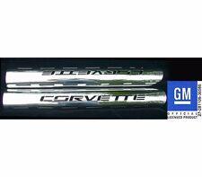 """Corvette Exhaust Shields (2), Corvette BLOCK, 4"""" Tube Side, Stainless Steel"""
