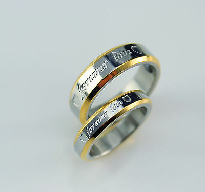 His and Hers Ladies Mens  Gold Plated 2 Tone Wedding Engagement Ring Band 1219