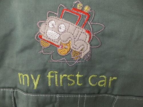 """Nouveau /""""ma première voiture/"""" baby boy/'s dungeree set avec bouchon assorti âges 0-9 mois."""