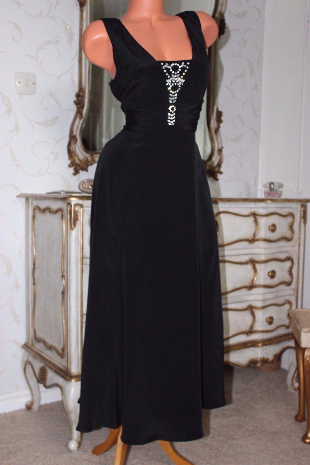 R1 KALIKO 100% Pura Seta Nera Nera Nera Pietra Impreziosito piena lunghezza Dress Dimensione 12 143789