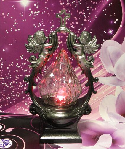 Grabkerze Grablampe Grablaterne Grabschmuck Engel KW-MP-019 Silber LED