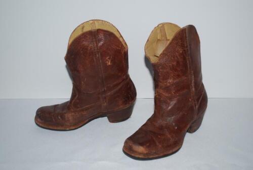 Vintage 1930s Cowboy Boots Brown Leather Authentic