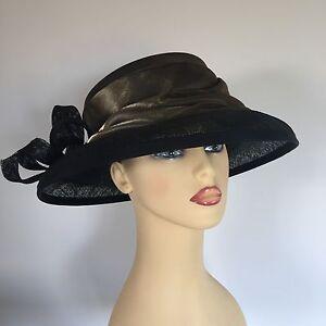 Utile Mesdames Occasion Mariage Courses Mère Mariée Chapeau Or Noir Par Espacements-afficher Le Titre D'origine 2019 Nouveau Style De Mode En Ligne