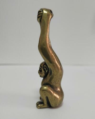 China pure brass Long arm monkey small statue