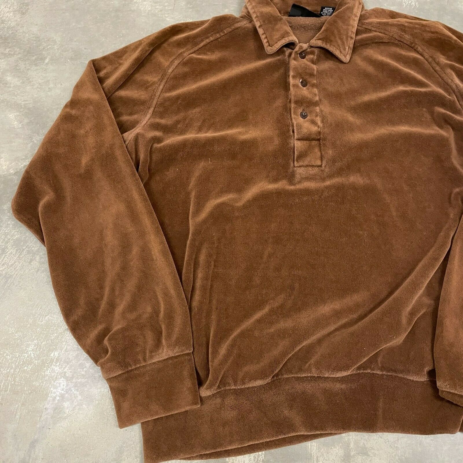 70s VTG Brown Velour Polo Pullover Sweater Cool X… - image 3