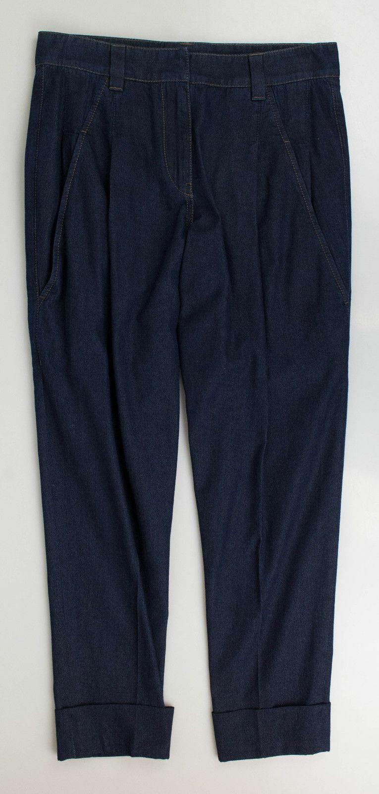 Nuevo BRUNELLO CUCINELLI Azul Algodón  Con Cuero Plisado Pantalones Informales 38 2  1000  apresurado a ver