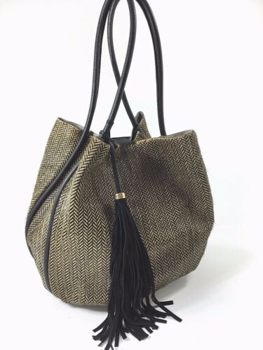 Bucket Womens Shoulder Italian Leather Handbag Large Fur Raw Innue xZw0YIfqf