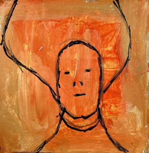 Original Acrylic Portrait Big Hair Woman Painting Katie Jeanne Wood