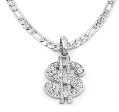 Money Sign Charm Silver Plated Piece Pendant Figaro Chain Necklace Jewelry