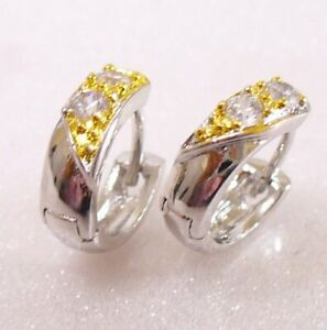 Details About Small Huggie Hoop Earrings Clear Simulated Diamond White Gold Plated Uk