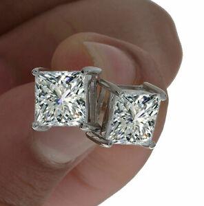 4Ct-Princess-Cut-D-VVS1-Diamond-Solitaire-Stud-Earrings-14K-White-Gold-Finish