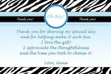 30 Personalized Thank You Card Notes Zebra Baby Boy Shower Blue Black Jungle