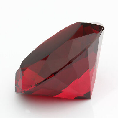 8b7f8f479bc09 Details about Big 60mm Deep Ruby Red 60 mm Cut Glass Crystal Giant Diamond  Jewel Paperweight