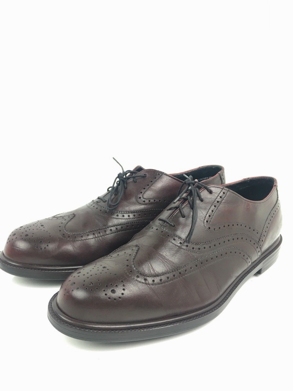 Neil M Mens US Sz 10.5M Burgundy Brown Wingtip Oxford Laceup Dress shoes (A275)