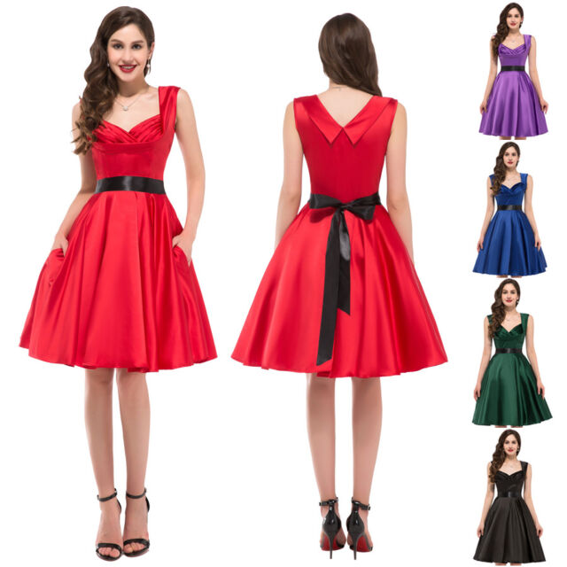 CHEAP~ Vintage Style 50s Swing Pinup Retro Prom Party Evening Dresses