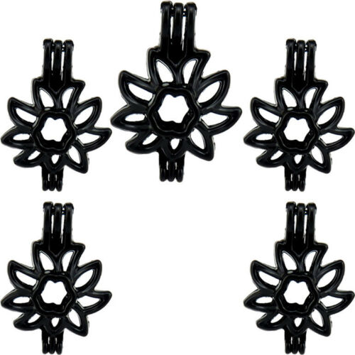 5PCS-H619 Black Color Beads Cage Plante Flower Diffuser Charm Locket