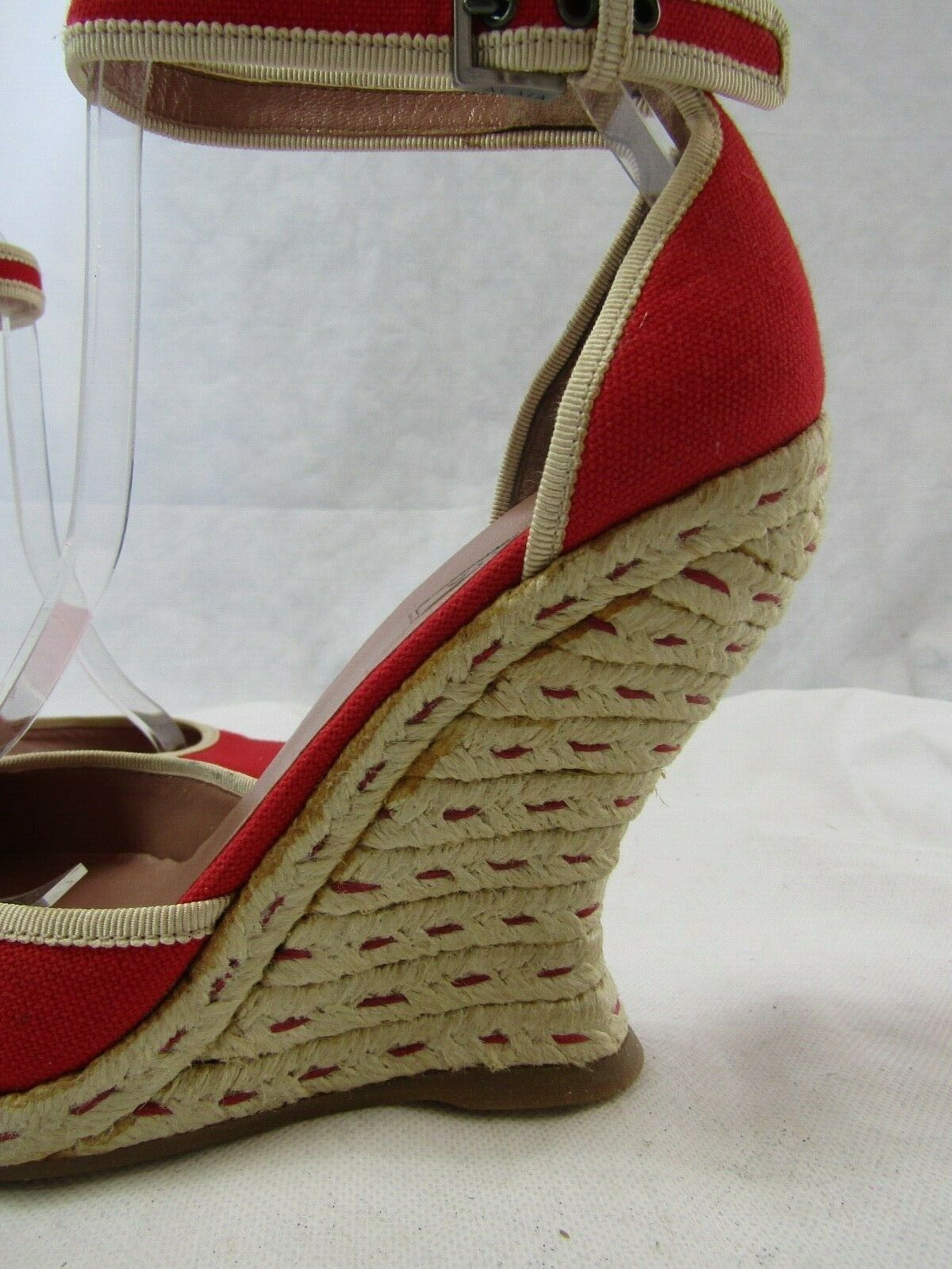 Azzedine Alaia Red Espadrille Wedge Size 37.5 Ret… - image 6
