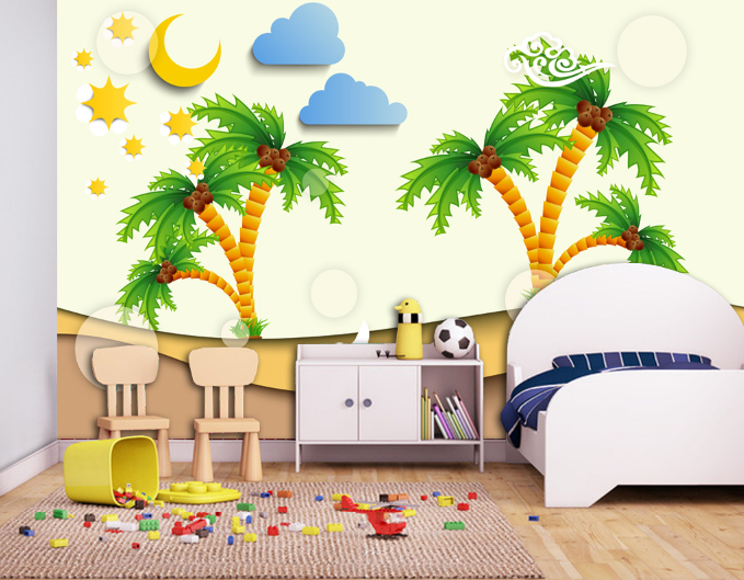 3D Coconut Tree 48 Wallpaper Murals Wall Print Wallpaper Mural AJ WALL UK Summer