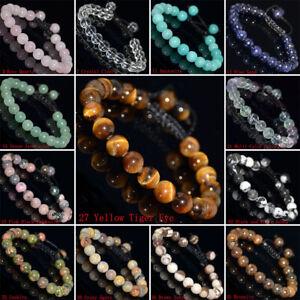 1PCS-8mm-Natural-Gemstones-Braided-Macrame-Beads-Bracelet-Adjust-Handmade