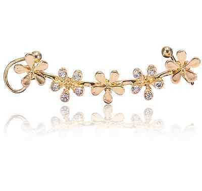 Crystal Star Flower Gold silver Ear Cuff Stud Earring Wrap Clip On Ear one piece