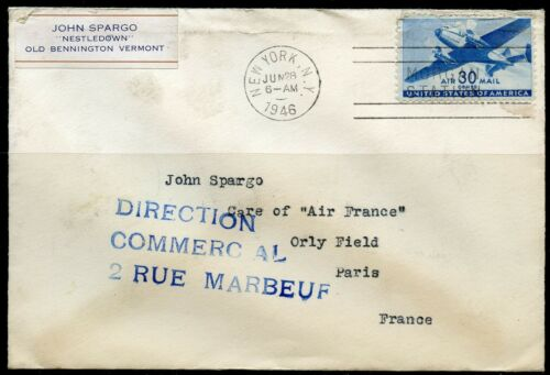 UNITED STATES 30c AIRMAIL AIR FRANCE FIRST FLIGHT COVER 6/28/48 TO PARIS