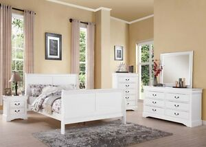 Details about Antique Brass Hardware 4pc White Bedroom Set Full Bed Dresser  Mirror Nightstand
