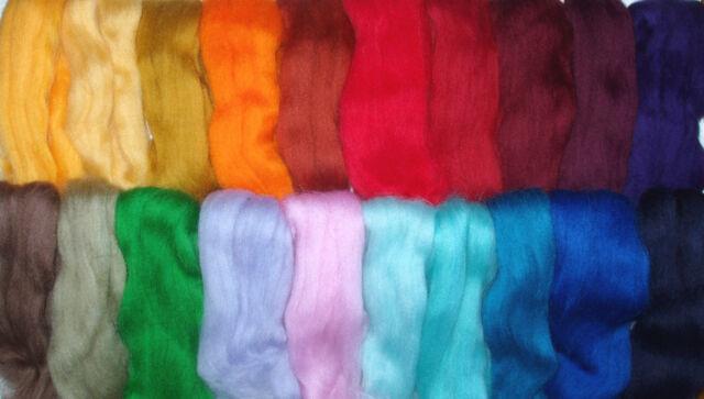 100-110g Merino Wool Sampler, 20 colours,wet/needle felting, spinning,dolls hair