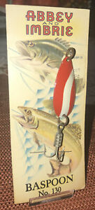 Vintage-Abbey-And-Imbrie-No-130-Baspoon-Fishing-Lure-W-J-J-Newberry-Sticker