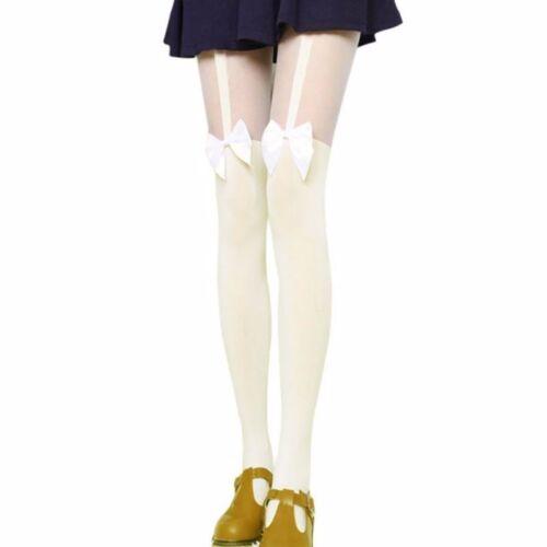 59# Warme Nylon Strumpfhose Overknee u Schleife Strumpf Straps Halter Stocking