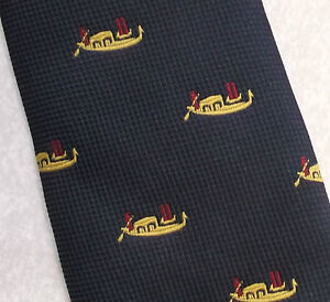 Vintage-Tie-MENS-Necktie-Crested-Club-Association-Society-ORIENTAL-BOAT-SILK