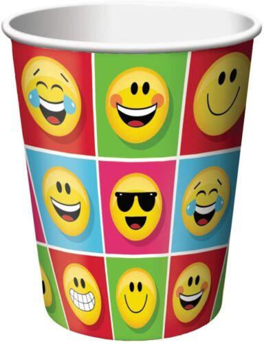 16 x Emoji Napkins Paper Cups 266ml Childrens Birthday Party Tableware Supplies