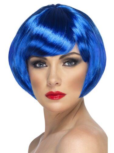 Blue Short Bob Wig Adults Fancy Dress Glamour Party Hen Night Accessory