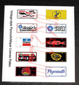 VINTAGE-STYLE-PLYMOUTH-MOPAR-miniature-LICENSE-PLATES-for-1-25-scale-MODEL-CARS
