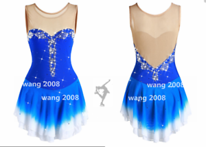 Ice skating dress Competition Figure Skating Twirling Costume bluee white