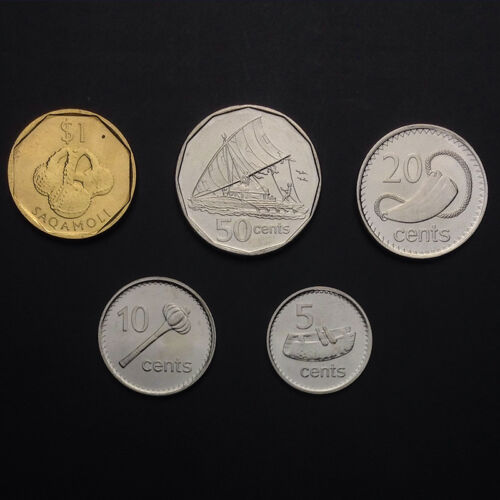 5 10 20 50 Cent- 1 Dollar F-3 Fiji Set Lot 5 Coins 2009-2010 UNC