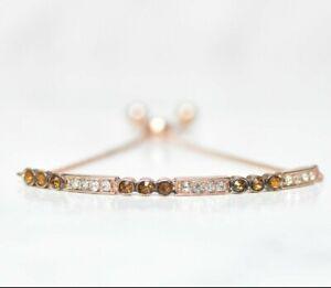 10K-Rose-Gold-Chocolate-Crystal-Tennis-Slider-Bracelet-Adjustable-7-034-10-034