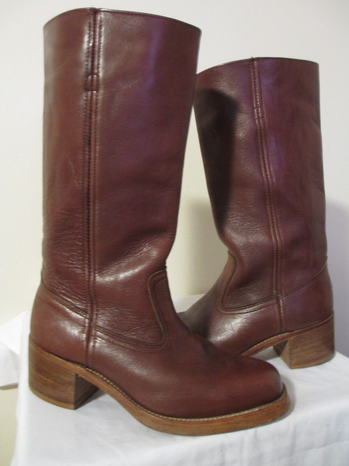 DEXTER Damens's Braun Leder Knee-High Stiefel Größe 9.5 WW Made in USA