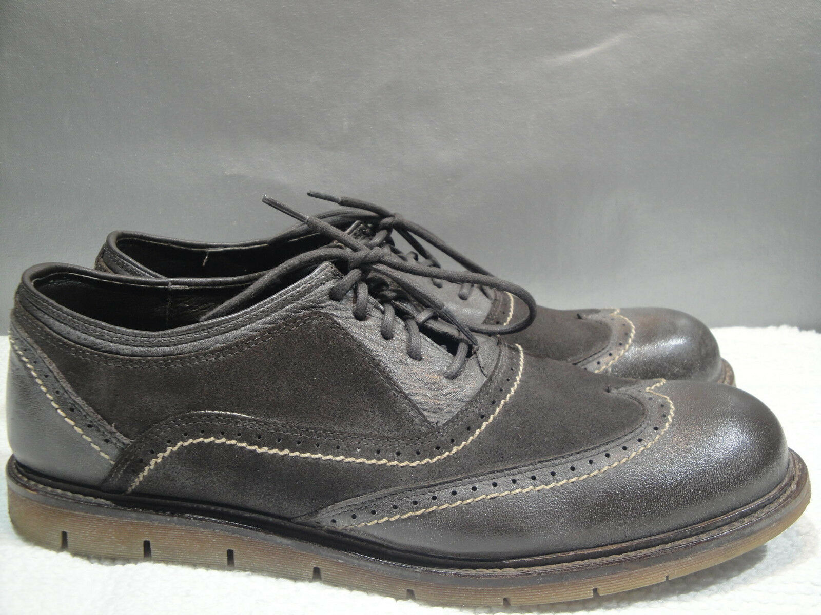 MENS 11.5 BED STU BROWN LEATHER WINGTIP DRESS COMFORT CASUAL OXFORD