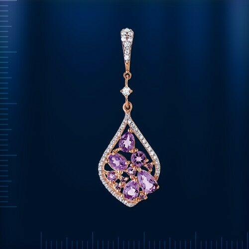 Remolques con amatista /& CZ rusa Rose oro 585 gotas de hermosa