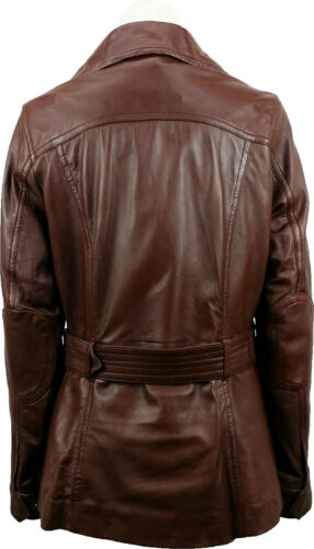 Brown #7P UNICORN Womens Classic Mid-Length Coat Real Leather Jacket