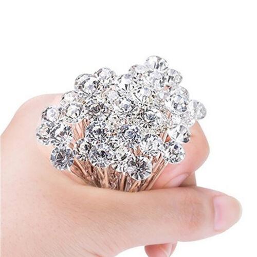 40x Crystal Rhinestone Hair Pins Bride Hair Clips Bridal Bling Ornament Chic