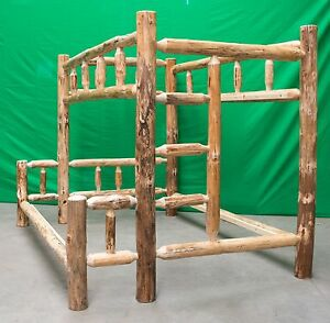 Image is loading Rustic-Log-Bunk-Bed-Full-Over-Queen-949- Rustic Log Bunk Bed - Full Over Queen $949.00 Free Shipping