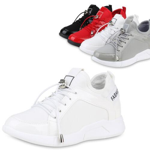 Damen Sneaker Wedges Lack Keilabsatz Schuhe Freizeit Turnschuhe 830117 Trendy