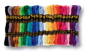 folia-Stickgarn-52-Docken-a-8-m-farbig-sortiert-26-verschiedene-Farben-Garn
