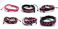 Braided Black and Fuschia Pink Leather and Waxed Cord Surfer Bracelet Wristband