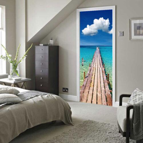 Beach Door Mural Self-Adhesive Stickers with European Standard Size 88x200cm