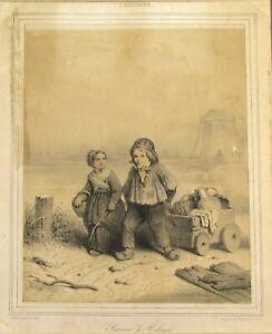 Theodore-Valerio-Antique-Etching-Signed-in-the-Plate-VALERIO-1844-Children