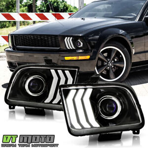 2005-2009 Ford Mustang Black LED Tube Projector Headlights Headlamps Left+Right