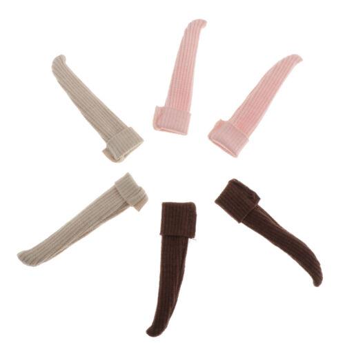 3//set Pure Color Knee High Socks Knitted Warm Stocking for 1//6 Blythe BJD Dolls